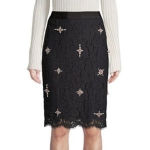 Joie | Ortally Lace Embellished Pencil Skirt